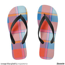 Canvas Designers Florida Orange Blue Plaid Flip Flops Zazzle Com In 2019 Mens