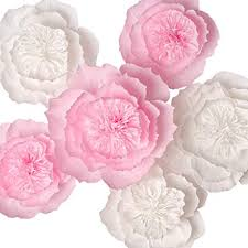 Pink Paper Flower Decorations Key Spring Paper Flower Decorations Giant Paper Flowers Large Crepe Paper Flowers Handcrafted Flowers Pink White Set Of 6 For Wedding Backdrop