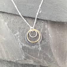 triple circle necklace black gold silver