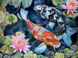 watercolor koi painting koi with water lilies by tanya jacobsz