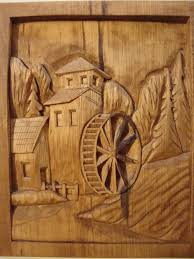 Wood Carving Dremel Dremel Etched Wood Country Mill And Water Wheel Hand Carved Wood