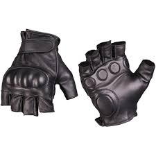 details about mil tec tactical fingerless leather gloves military mens security mittens black