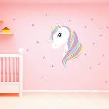 chictry unicorn wall decals cute bling stars wall art stickers removal vinyl wall sticker decal diy kids girls bedroom home nursery room wall mural decor by