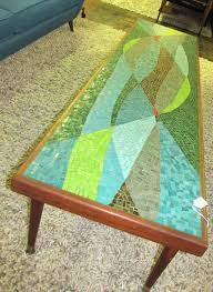 Stained Glass Coffee Table Mosaic Glass Tiled Mid Century Frankfurter Mosaik Coffee Table