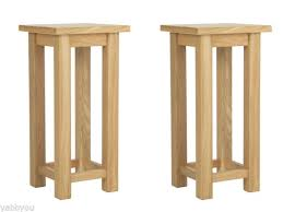 pair of high quality modern tall slim oak bedside tables 55cm high