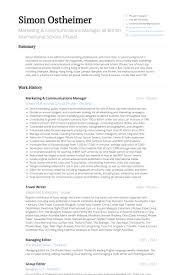 Marketing Communications Manager Resume Samples Visualcv Resume