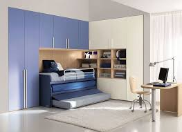 Blue compact bed design for kids
