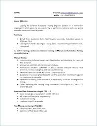 Qtp Sample Resume For Software Testers Luxury Software Testing
