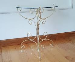 vintage gold brass and glass side table