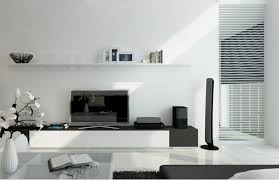 ... Living Room Tv Stand Ideas Gallery Fabulous Simple White Neutral Color  Stained Wall Interior With Electronics ...