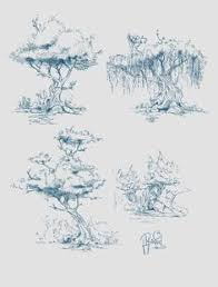 concept art of trees on behance sketch blue pen