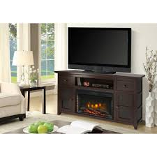 freestanding electric fireplace tv stand in dark walnut