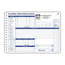 Plumbing Invoice Plumbing Contractor Invoice Forms Work Order Custom Printing