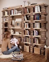 16 industrial rustic brick and wood shelf