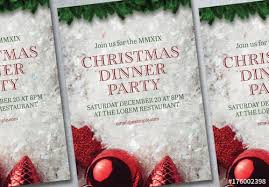 christmas dinner poster christmas dinner party poster layout 1 buy this stock template and