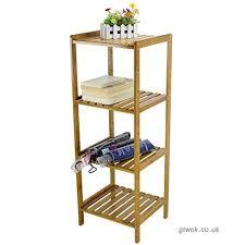 4 tier bamboo bathroom storage shelves rack display stand shelf b06x9sryxh