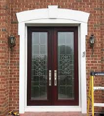 double entry door with full decorative glass panels
