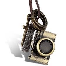 men women bronze tone pendant necklace w brown adjule leather chain