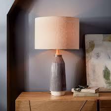 Gray Table Lamps Impressive Roar Rabbit™ Ripple Ceramic Table Lamp Large Narrow Warm Gray