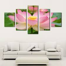 unframed 5 panels pink lotus flowers print painting modern canvas wall art for wall decor home decoration artwork in painting calligraphy from home  on lotus flower canvas wall art with unframed 5 panels pink lotus flowers print painting modern canvas