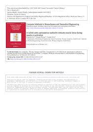 Pdf A Hybrid Static Optimisation Method To Estimate Muscle Forces