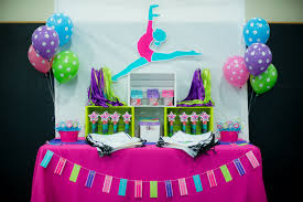 Gymnastics Birthday Party Decorations Bright And Colorful Gymnastics Birthday Party Pretty My Party
