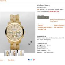 Michael Kors Watch Size Chart Michael Kors Gold Watch W Horn Show Stopper Band