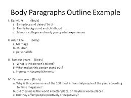 creating an outline for a biographical essay so where do i start  body paragraphs outline example i early life body a