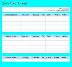 Free Printable Food Journal Fitness And Exercise Daily Running Log