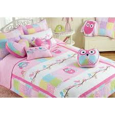 girls twin pink owl quilt set kids patchwork bedding with