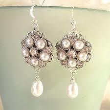 vintage bridal pearl chandelier earrings rhinestone earrings 1920s wedding earrings lauren with pearl