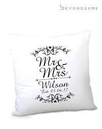 personalised mr mrs cushion er wedding anniversary newlywed date gift beyondsome