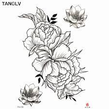 1 шт временные татуировки наклейки черные розы дизайн полный цветок