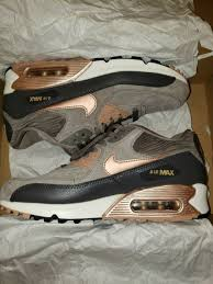 nike air max 90 768887 201 gray rose gold metallic suede upper women s size 7