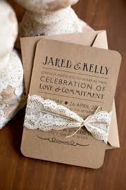 21 lace wedding invitation ideas weddingomania Kraft Paper Cardstock Wedding Invitations simple and chic craft paper wedding invitation with lace kraft cardstock wedding invitations