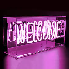 pink welcome welcome acrylic box neon locomocean