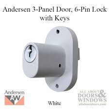 andersen 6 pin schlage exterior door lock with keys for 3 panel patio door white