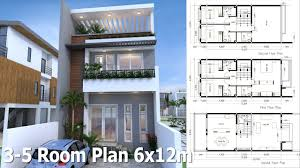 sketchup 3 story home plan 6x12m you