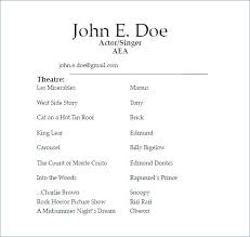 Resume Examples For Actors Actor Resume Example Acting Resumes Theatre Resume From Acting