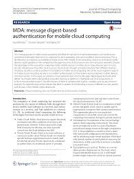 Mda Organization Chart Mda Message Digest Based Authentication For Mobile Cloud