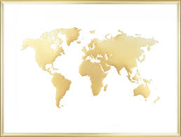 World Map Posters World Map Poster Gold