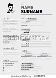 Resume Minimalist Cv Resume Template Simple Stock Vector 505833598