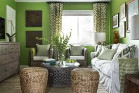 Neutral accents to tone down the highly energetic tone of apple green wall  paint.
