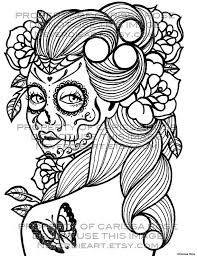 Small Picture Day of the Dead Tattoo Flash Digital Download Print Your Own