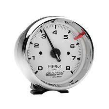 autometer tachometers auto meter 2304 gauge tach 3 3 4 8k rpm pedestal wht dial chrome case autogage