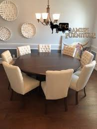 finished another dining room with a gorgeous solid wood round arts and craft table with 8 alana side chair with crypton fabric