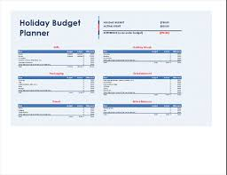 Holiday Planner Template Holiday Budget Planner