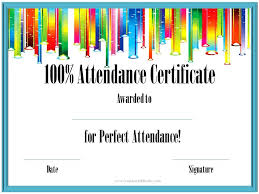 Free Printable Perfect Attendance Certificate Template Delectable Printable Perfect Attendance Certificate Template Attendance