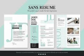 Resume Portfolio 13 Sans Resume -Cover Letter -Portfolio Templates Creative  Market