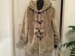 las jacket with hood cream fur primark size 12